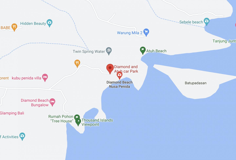 Nusa Penida Diamond Beach Map