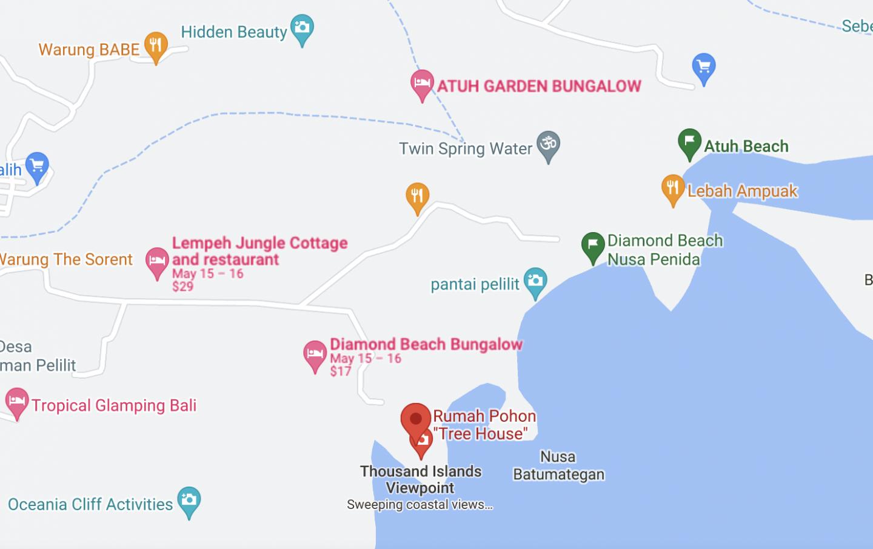 Nusa Penida treehouse location