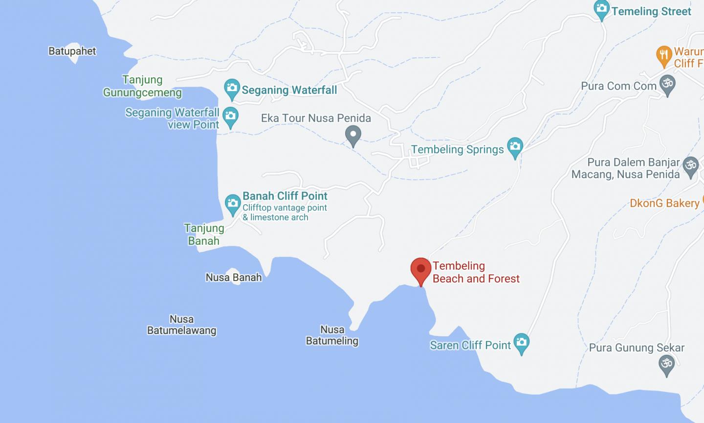Tembeling Nusa Penida Location